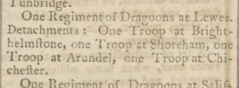 1769 11th February Kentish Gazette reorganisation of troops