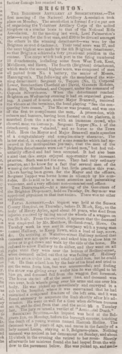 1865bb Sussex Advertiser 8th August 1865