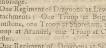 1769 11th February Kentish Gazette reorganisation of troops