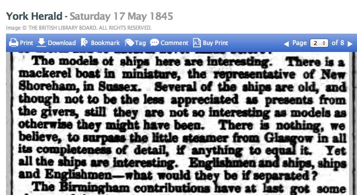 1845e 17 May York Herald re exhibits in model room of a bazaar