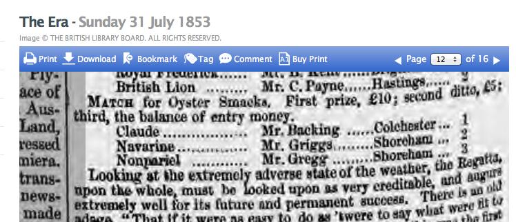 1853gj Extract from Brighton Regatta
