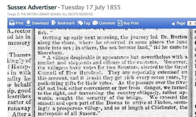 1855gg 17 July SA Extract of Dr Burtons Journey Through Sussex circa 1760