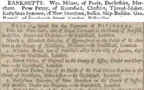 1764 8 Sept Ipswich Journal and 1767 17 Feb Manchester Mercury