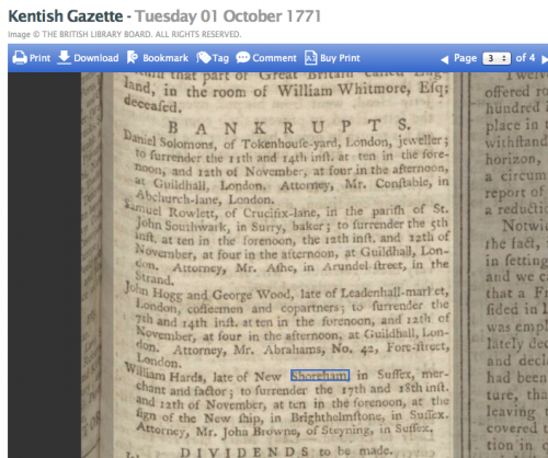 1771 1st October Kentish Gazette