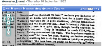 1852i 16th September Worcester Journal - Reports on Hop crops