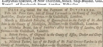 1764 8 Sept Ipswich Journal and 1767 17 Feb Manchester Mercury