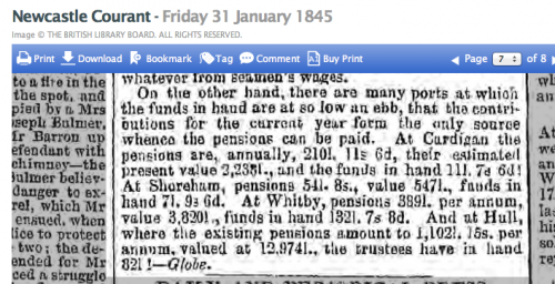 1845ac Part of Report on Merchant Seamens Fund nationwide