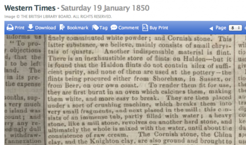 1850ag making Devon pottery Shoreham flints used