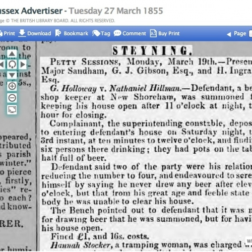 1855cg 27th March SA NATHANIELs BEER SHOP WAS BETWEEN THE NORFOLK BRIDGE HE WAS 70 AT THE TIME AND THE KINGS HEAD