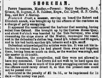 1858bd 16th February SA Smuggling