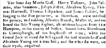 1759 5th November event reported 6th November 1759