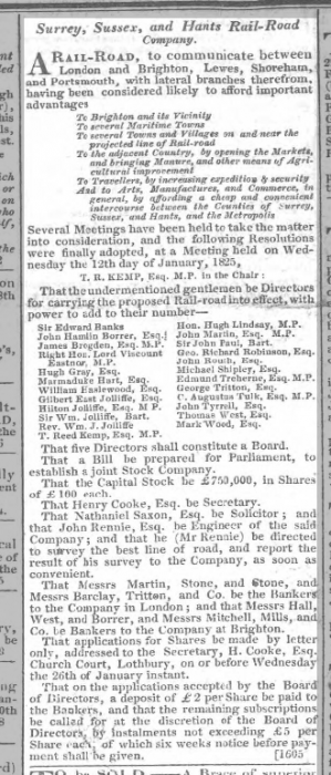 1825b 17th January Hampshire Chronicle