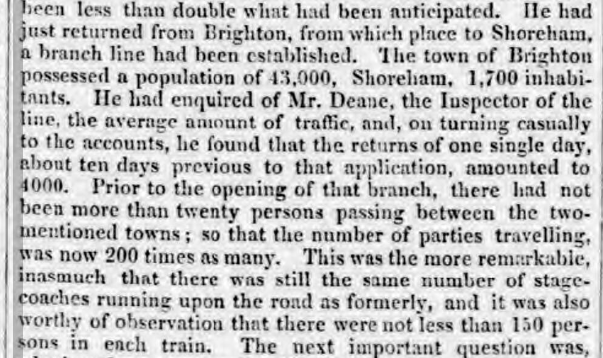 1841 23 Oct extract from a comparison of effect of railway on coach travel