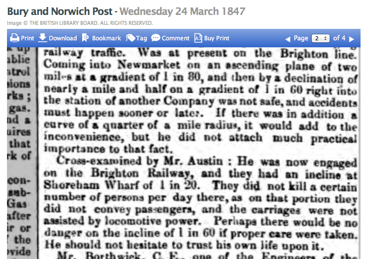 1847cb 24th March Bury Post Extract of a Newmarket railway meeting