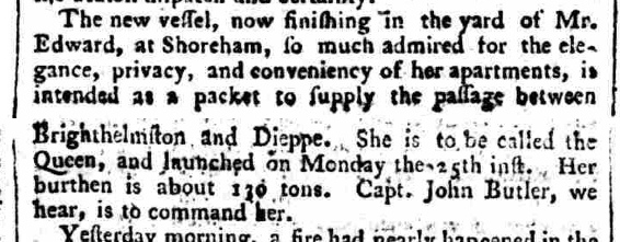 1785 8th July Sussex Advertiser Butler Queen