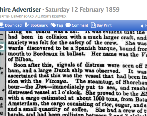 1859 12th Feb Hampshire Advertiser extract another Shorehamsteam tug