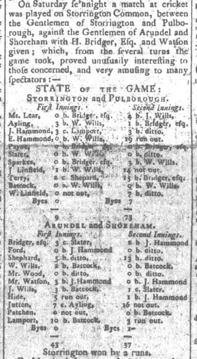 1799 19th August Cricket match Sussex Advertiser