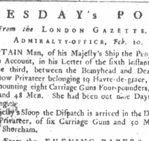 1758d 10th February Newcastle Courant