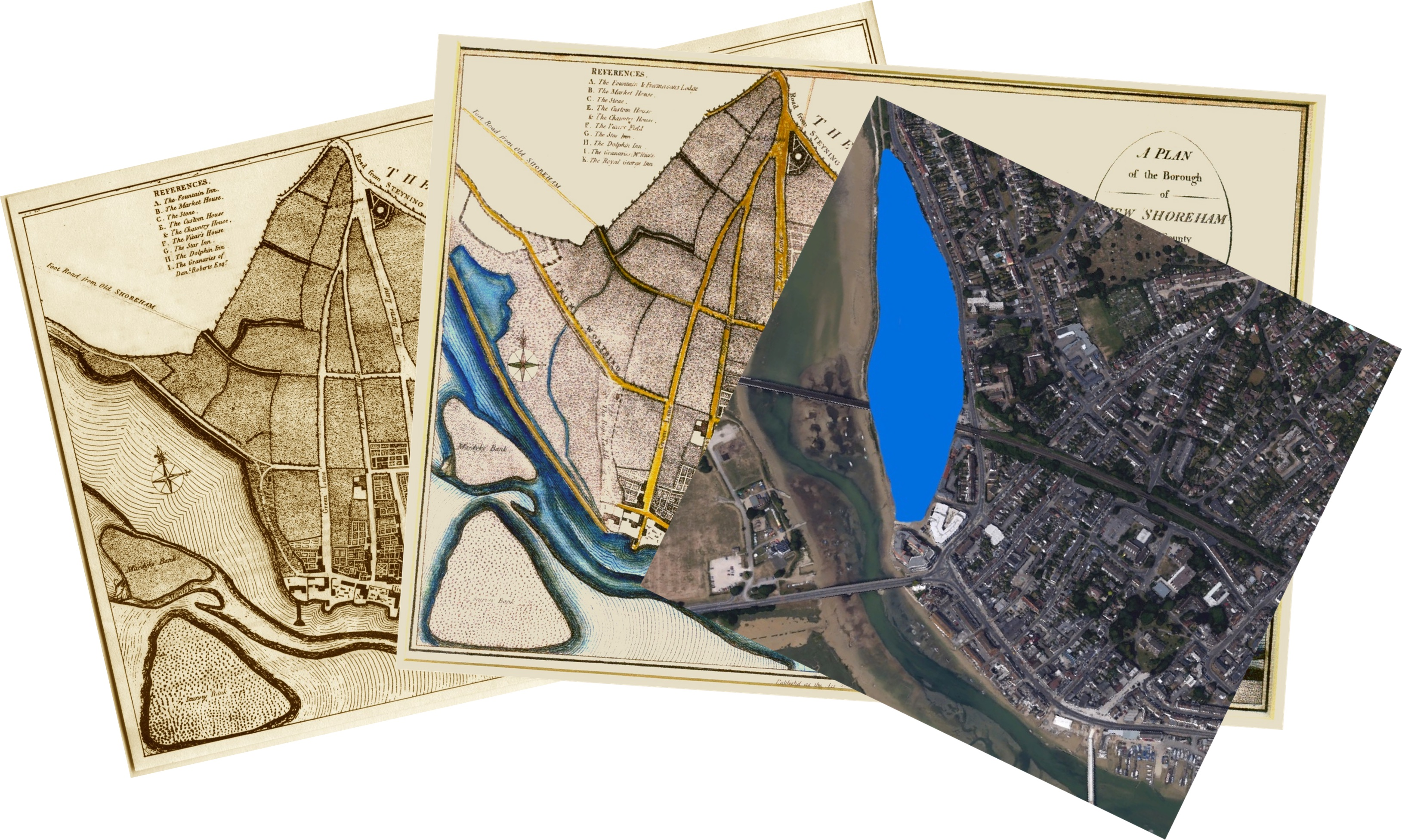 2 Maps of Ropetackle before (1789) after (1817) the new river bank was built and satellite view of the complete area of the mill pond
