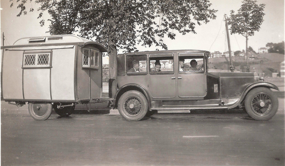 Description: Macintosh HD:Users:rogerbateman:Desktop:Stanley Geraldine in passenger seat Devon or Cornwall 1930 Jon Spence caravan looks like an Eccles caravan.png