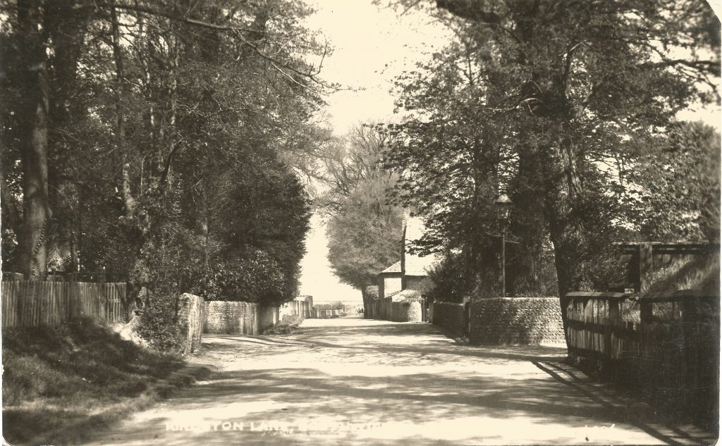 Kingston Lane when still part of the countryside with the entrance to Ashcroft on the left and the Rectory on the right Original edited copy