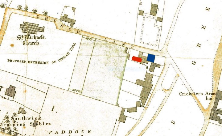 Macintosh HD:Users:rogerbateman:Desktop:Indian :3 1897 map showing Ivy Cottage (blue) and the outbuildings then with the later Indian Temple (red).jpg