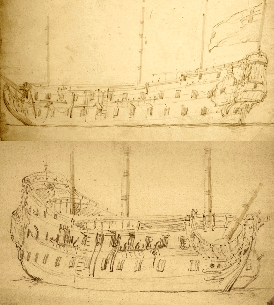 1675 sketch of HMS Dover (top) and the front three-quarter view of a similar vessel
