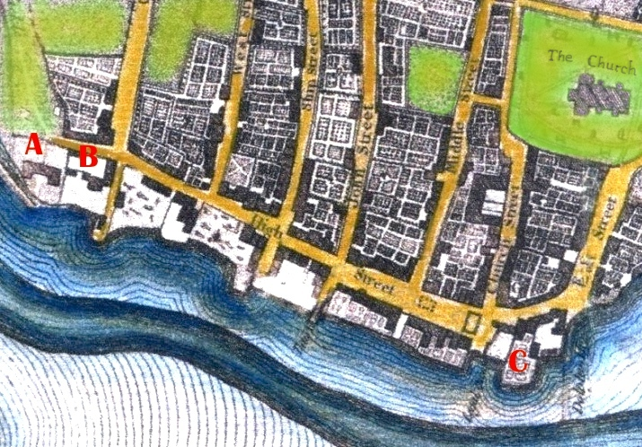 1c Shoreham in the early 1800's showing the barracks at Ropetackle A = Mill Green, B = King's Head and at C = Star Gap (now Coronation Green) copy