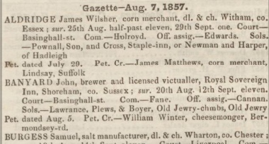Description: Macintosh HD:Users:rogerbateman:Desktop:Royal Sovereign:Perry's Bankrupt Gazette 8th August 1857 .jpg