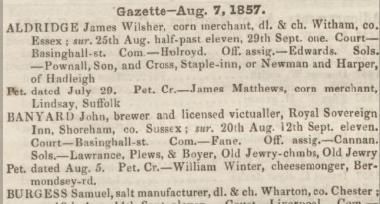 Description: Macintosh HD:Users:rogerbateman:Desktop:Royal Sovereign:Perry's Bankrupt Gazette 8th August 1857 .jpg