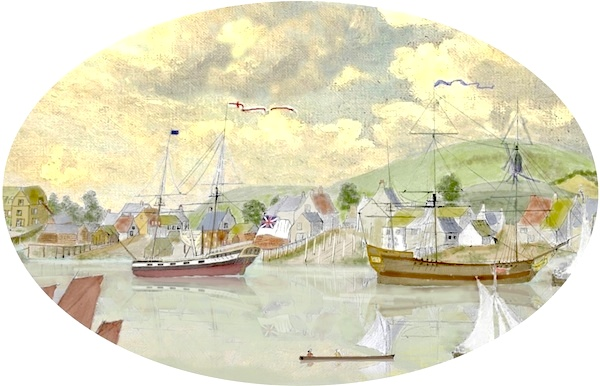 SBS8 Royal Navy and merchant vessels by the shipyards at Shoreham (from Captain John Butler's 1780's drawing)