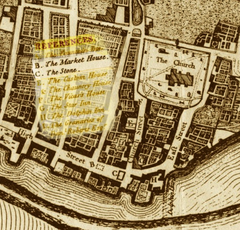 Macintosh HD:Users:rogerbateman:Desktop:Back Up Articles, Photos Etc.,:SNIPPETS:Market House Posts:1. Detail from the 1789 map showing 'B' the site of the market house and 'C' the stone (note; not stones). .jpg