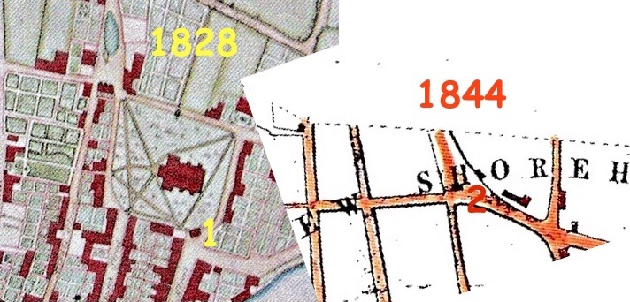 Macintosh HD:Users:rogerbateman:Desktop:Back Up Articles, Photos Etc.,:SNIPPETS:Market House Posts:3. The possible footprints of the moved buildings in East Street (1) and Southdown Road (2).jpg