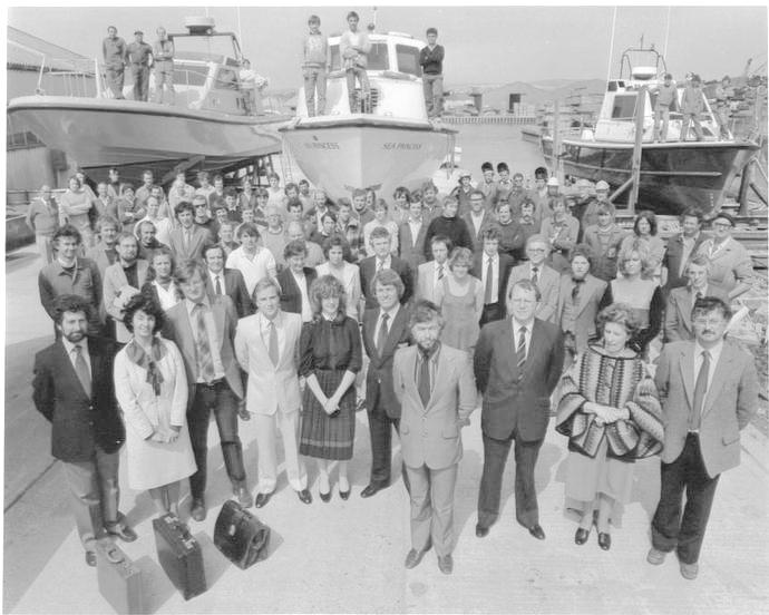 Macintosh HD:Users:rogerbateman:Desktop:RAMUS :Watercraft 3a Watercraft employees photo commemorating the Queen's Award 1982.jpg