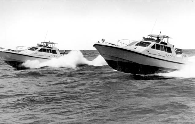 Macintosh HD:Users:rogerbateman:Desktop:RAMUS :Watercraft 6a Two of the P12's being put through their paces on sea trials.jpg