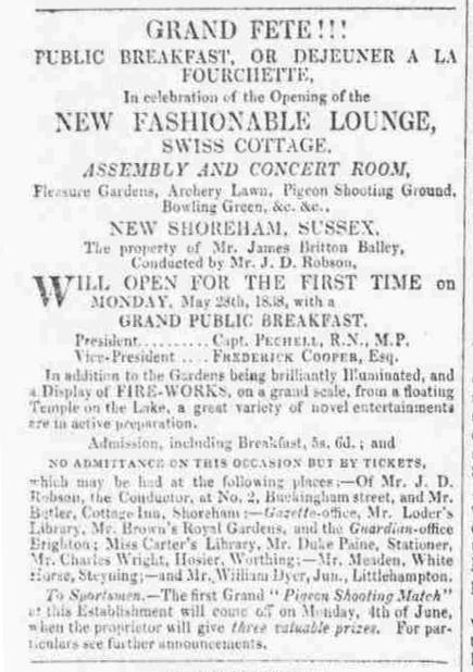 1838b 15th May Brighton Patriot SWISS GARDENS OPENING