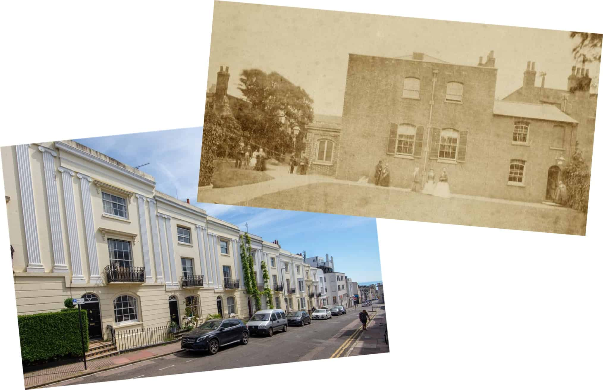 Macintosh HD:Users:rogerbateman:Desktop:Neil42:L4b Left/ Hampton Place, in the 1830's a mixture of upper and middle class houses (photo Lextons). Right/ Ship Street Meeting House (photo My Brighton & Hove).jpg